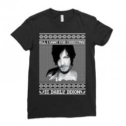 daryl dixon christmas ugly for red Ladies Fitted T-Shirt | Artistshot