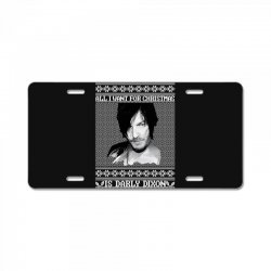 daryl dixon christmas ugly for red License Plate | Artistshot