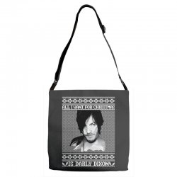 daryl dixon christmas ugly for red Adjustable Strap Totes | Artistshot
