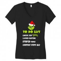 the grinch to do list drive jeep christmas Women's V-Neck T-Shirt   Artistshot