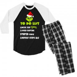 the grinch to do list drive jeep christmas Men's 3/4 Sleeve Pajama Set | Artistshot