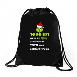 the grinch to do list drive jeep christmas Drawstring Bags | Artistshot