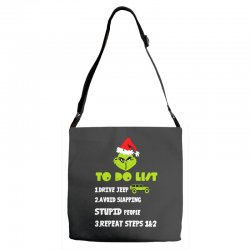 the grinch to do list drive jeep christmas Adjustable Strap Totes | Artistshot