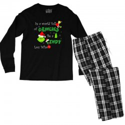 snow christmas in a world full of grinches be cindy lou who shirts Men's Long Sleeve Pajama Set | Artistshot