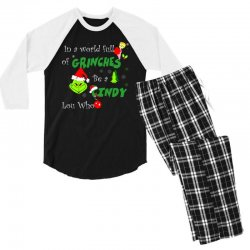 snow christmas in a world full of grinches be cindy lou who shirts Men's 3/4 Sleeve Pajama Set | Artistshot