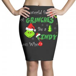 snow christmas in a world full of grinches be cindy lou who shirts Pencil Skirts | Artistshot