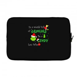 snow christmas in a world full of grinches be cindy lou who shirts Laptop sleeve | Artistshot