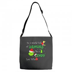 snow christmas in a world full of grinches be cindy lou who shirts Adjustable Strap Totes | Artistshot
