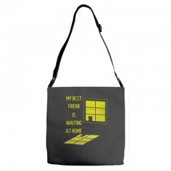my best friend is waiting at home Adjustable Strap Totes | Artistshot