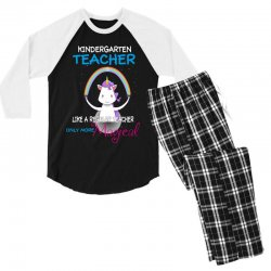 kindergarten teacher cute magical unicorn Men's 3/4 Sleeve Pajama Set | Artistshot
