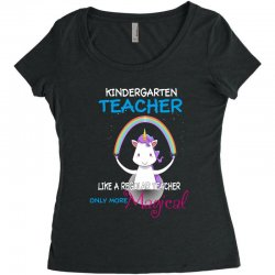 kindergarten teacher cute magical unicorn Women's Triblend Scoop T-shirt | Artistshot