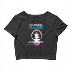 kindergarten teacher cute magical unicorn Crop Top | Artistshot
