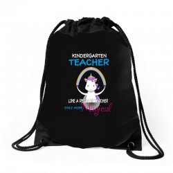 kindergarten teacher cute magical unicorn Drawstring Bags | Artistshot