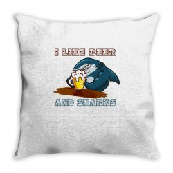 i like beer and sharks Throw Pillow | Artistshot