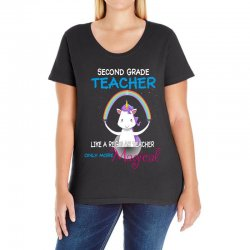 2nd second grade teacher cute magical unicorn Ladies Curvy T-Shirt | Artistshot