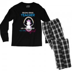 2nd second grade teacher cute magical unicorn Men's Long Sleeve Pajama Set | Artistshot
