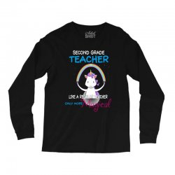 2nd second grade teacher cute magical unicorn Long Sleeve Shirts | Artistshot