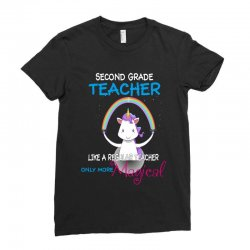 2nd second grade teacher cute magical unicorn Ladies Fitted T-Shirt | Artistshot