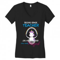 2nd second grade teacher cute magical unicorn Women's V-Neck T-Shirt | Artistshot
