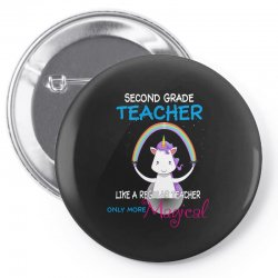 2nd second grade teacher cute magical unicorn Pin-back button | Artistshot