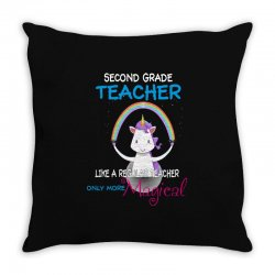 2nd second grade teacher cute magical unicorn Throw Pillow | Artistshot
