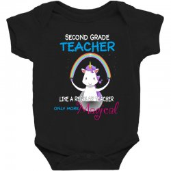 2nd second grade teacher cute magical unicorn Baby Bodysuit | Artistshot