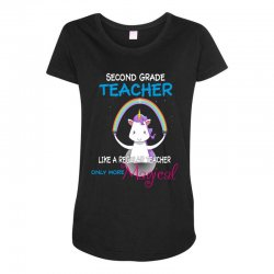 2nd second grade teacher cute magical unicorn Maternity Scoop Neck T-shirt | Artistshot