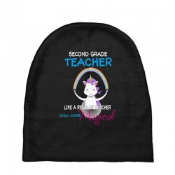 2nd second grade teacher cute magical unicorn Baby Beanies | Artistshot