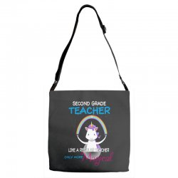 2nd second grade teacher cute magical unicorn Adjustable Strap Totes | Artistshot