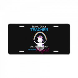 2nd second grade teacher cute magical unicorn License Plate | Artistshot