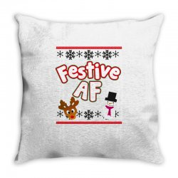 festive af ugly christmas sweater Throw Pillow | Artistshot