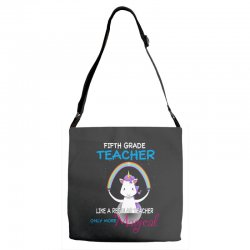 5th fifth grade teacher cute magical unicorn Adjustable Strap Totes | Artistshot