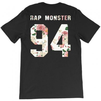 Bts Squre With Floral Pattern Back Rap Monster 94 T-shirt Designed By Akin