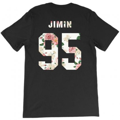 Bts Squre With Floral Pattern Back Jimin 95 T-shirt Designed By Akin