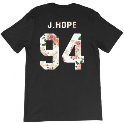Bts Squre With Floral Pattern Back J.hope T-shirt Designed By Akin