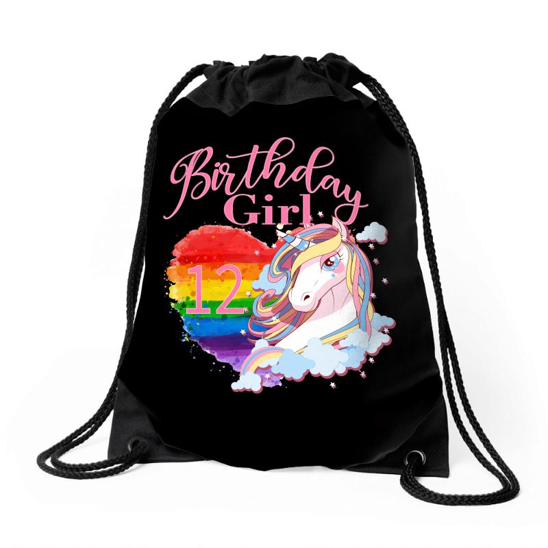 Birthday Girl 12 Years Drawstring Bags