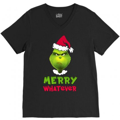 Merry Whatever Grinch V-neck Tee Designed By Akin