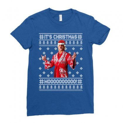 Ric Flair Christmas Ugly Ladies Fitted T-shirt Designed By Sengul