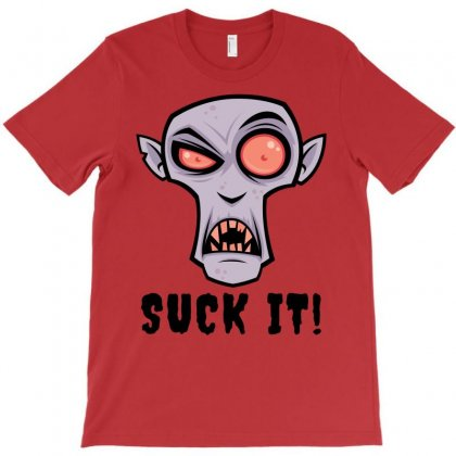 Creepy Vampire Cartoon With Suck It Text T-shirt Designed By Fizzgig