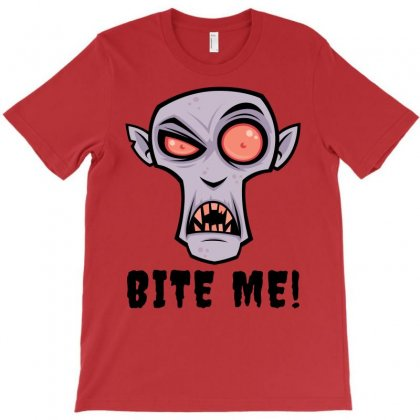 Creepy Vampire Cartoon With Bite Me Text T-shirt Designed By Fizzgig