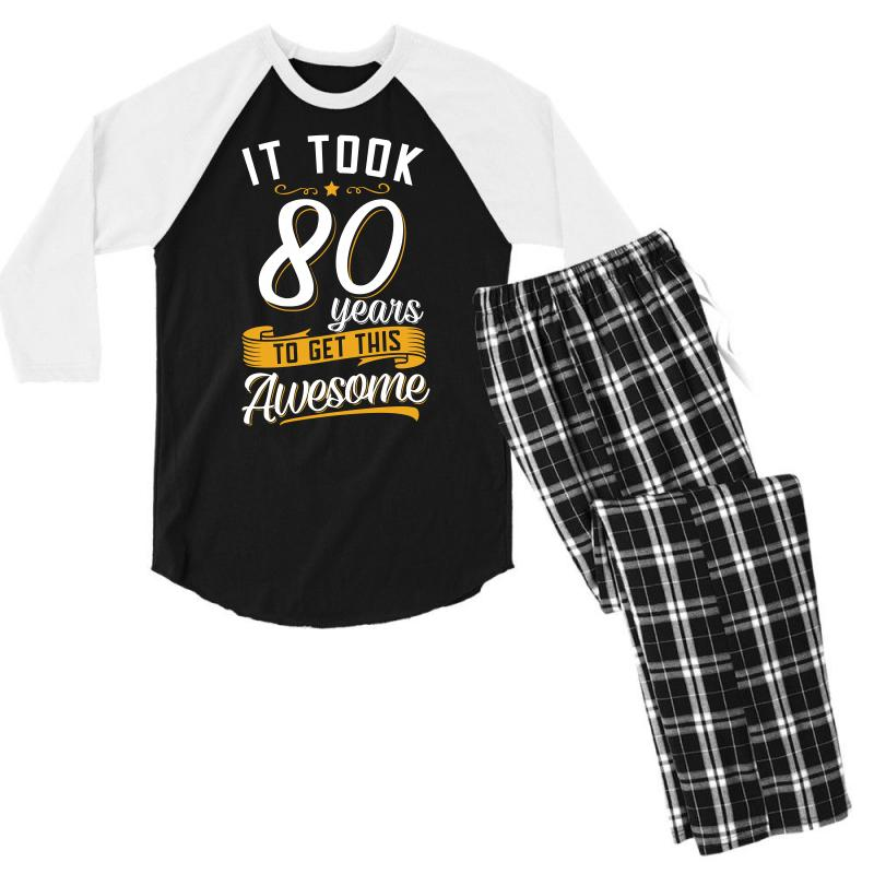 80th Birthday T Shirt And Gift Mens 3 4 Sleeve Pajama Set