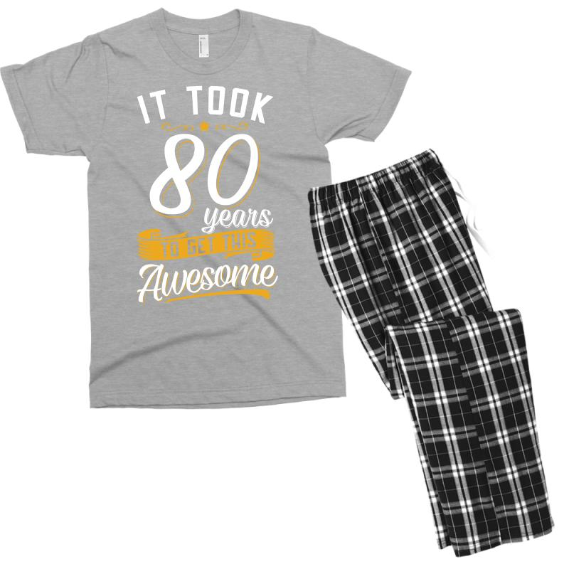 80th Birthday T Shirt And Gift Mens Pajama Set