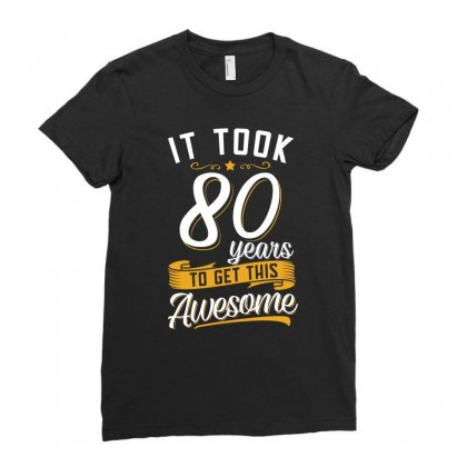 80th Birthday T Shirt And Gift Ladies Fitted T-shirt Designed By Cogentprint