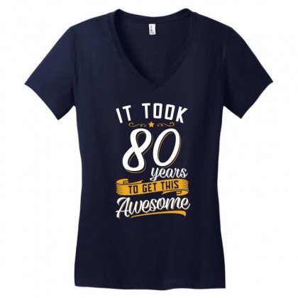 80th Birthday T Shirt And Gift Women's V-neck T-shirt Designed By Cogentprint