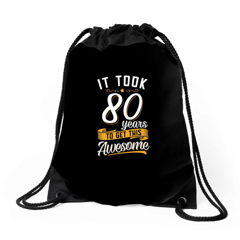 80th Birthday T Shirt And Gift Drawstring Bags