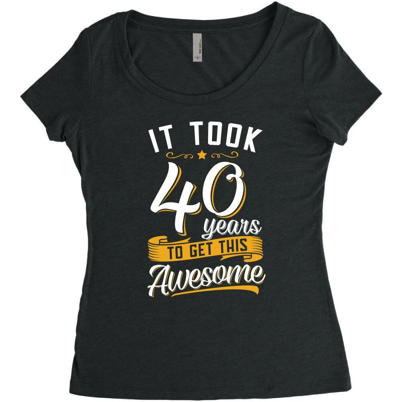 Awesome 40th Birthday Tshirt And Gift Womens Triblend Scoop T Shirt