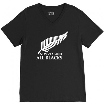 New Zealand All Blacks Rugby V-neck Tee Designed By Mdk Art