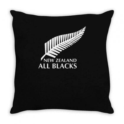 New Zealand All Blacks Rugby Throw Pillow Designed By Mdk Art