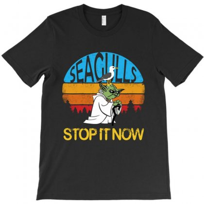 Seagulls Stop It Now - Retro Vintage T-shirt Designed By Blqs Apparel