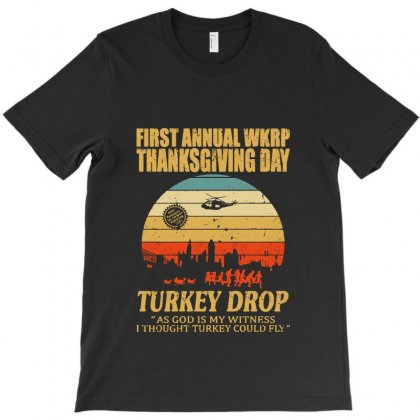 First Anuual Wkrp Turkey Drop With Les Nessman Distressed T-shirt
